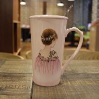 创意可爱女生学生卡通萌陶瓷喝水杯陶瓷咖啡杯带盖勺牛奶早餐杯子