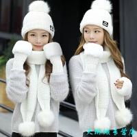 帽子女冬天围巾手套三件套 韩版休闲百搭冬季加绒可爱针织帽女