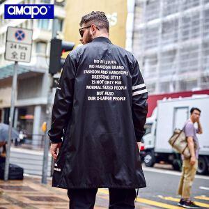 【限时抢购到手价:169元】AMAPO潮牌大码男装加肥加大码肥佬潮胖子中长款薄夹克风衣外套男