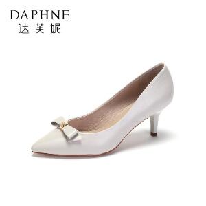 Daphne/达芙妮舒适羊皮高跟鞋 优雅尖头蝴蝶结单鞋