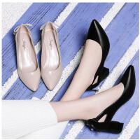 古奇天伦早春季新款工作鞋皮鞋小清新高跟鞋粗跟浅口百搭韩版尖头单鞋FR03342