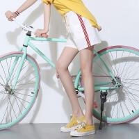 夏季新款侧边条纹棉麻短裤女热裤高腰打底休闲裤