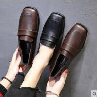 新款复古英伦风方头低跟平底女士单鞋两穿软妹小皮鞋女