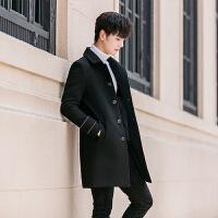 双排扣毛呢大衣男装妮子外套修身毛呢冬韩版男
