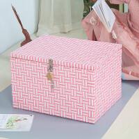 加锁收纳箱带锁的箱子储物箱证件存折小盒整理箱化妆箱密码盒手工 嫩粉色 女生都爱