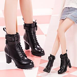 毅雅女鞋秋冬新款短靴女高跟粗跟时尚女靴系带扣带潮流女中靴