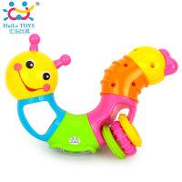 儿童益智玩具百变音乐扭扭虫 宝宝牙胶手摇铃可旋转