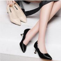 盾狐职业高跟鞋女时尚尖头浅口单鞋百搭中跟细跟ol正装工作鞋DH5755