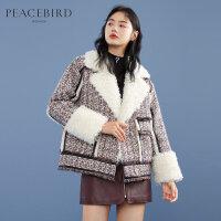 太平鸟小香风拼接短款羽绒服女2019冬季新款加厚外套时尚厚实