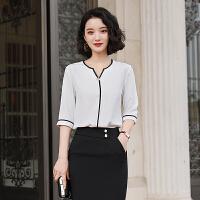 V领套头衬衫女2020春季新款设计感小众复古简约纯色雪纺职业衬衣