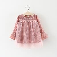童装女童公主裙春秋儿童喇叭袖拼接网纱裙子婴儿女宝宝春装连衣裙