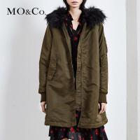 MOCO连帽大毛领加厚外套女冬棉衣棉服中长款MK174COT501 摩安珂