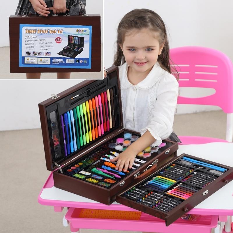 儿童水彩笔套装幼儿园小学生画画笔绘画工具美术用品生日礼物礼品文具 123木头棕色 配画本礼袋 发货周期:一般在付款后2-90天左右发货,具体发货时间请以与客服协商的时间为准