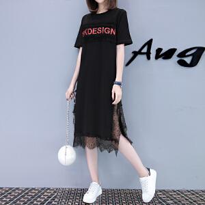AGECENTRE2018夏季新款女装字母印花蕾丝开叉中长款短袖T恤连衣裙潮