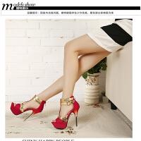 韩版时尚超高跟鞋防水台细跟夜店公主鱼嘴凉鞋新款性感镂空高跟鞋