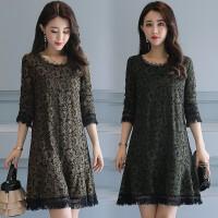 中长款蕾丝衫打底衫女长袖18新款春季韩版宽松镂空显瘦连衣裙