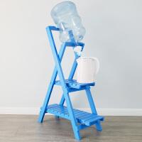 七夕礼物 实木简易大桶矿泉水纯净水桶装水支架 抽水器饮水机泵 取水压水器倒置饮水器吸水 蓝色大款双层