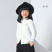 初语童装 新品中大男女童中性长袖百搭衬衫衬衣上衣