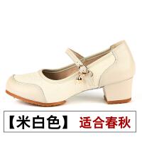 舞蹈鞋真皮女软底中跟春夏广场舞现代舞交谊舞拉丁舞鞋