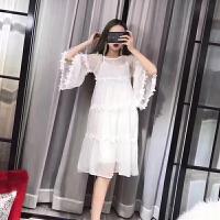 2018夏季新款时尚女装百搭甜美公主袖蕾丝花边两件套休闲连衣裙潮 白色 均码