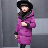 207加厚童装女童宝宝棉衣儿童两面穿连帽中长款外套棉袄 紫色 120cm