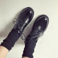 韩版百搭ulzzang女士单鞋 新款学院风小皮鞋女 学生粗跟英伦风单鞋女