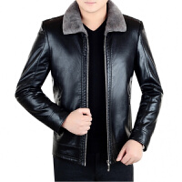 冬真皮皮衣皮毛一体绵羊皮加厚加绒短款中年男外套夹克爸爸装 黑色 5/S