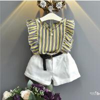 女童套装夏季新款宝宝条纹飞袖背心+短裤配皮带套中小童套装