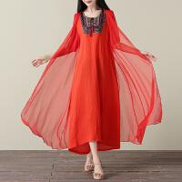 实拍 中国民族风女装夏季领花刺绣丝麻大码宽松假两件连衣裙长裙