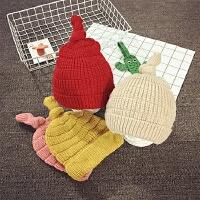 儿童毛线帽秋冬宝宝帽子1-2岁套头帽韩版针织帽保暖护耳帽男女潮