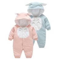 宝宝衣服 加厚哈衣连体带帽宝宝棉衣 婴儿爬服外出服