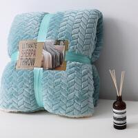 素色珊瑚绒毯子 双层加厚保暖羊羔绒毛毯 单人双人办公室午睡盖毯