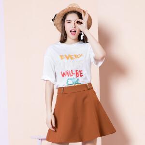 ZDORZI卓多姿夏装韩版显瘦彩色字母印花短袖T恤女734E034