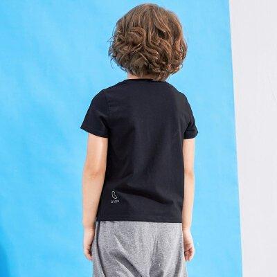 AMII童装夏吃豆人男童圆领T恤中大童创意卡通休闲弹力短袖t恤