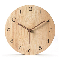 日式风格挂墙钟北欧实木挂钟客厅时尚创意现代简约原木时钟静音家用木质钟表 原木色全数字 带秒针