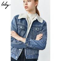 Lily2019秋新款女装年轻时尚拼接领帅气直身休闲牛仔短外套3910