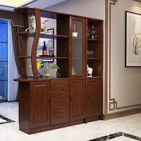 现代简约实木酒柜客厅隔断柜屏风进门玄关柜间厅柜装饰柜置物架 组装