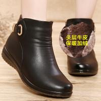 妈妈鞋棉鞋女冬季保暖加绒中老年棉靴平底真皮老人鞋奶奶老年短靴