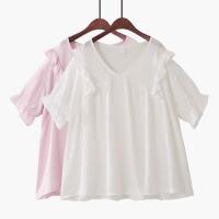2018夏季新韩版高腰泡泡短袖纯色木耳花边甜美雪纺衫娃娃衫衬衫女
