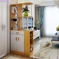 门厅柜简约现代酒柜双面欧式鞋柜简易玄关柜大容量隔断柜 黄枫木色 组装
