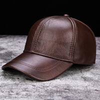 秋冬季真皮帽子男士户外休闲头层牛皮棒球帽中老年人时尚鸭舌帽女