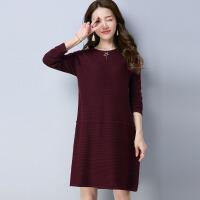 秋冬季新款欧美长袖毛衣裙 修身圆领中长款针织连衣裙