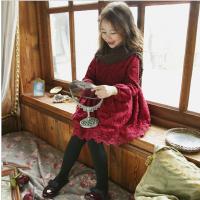 女童连衣裙秋冬新款韩版童装蝴蝶结蕾丝裙中大儿童加绒公主裙