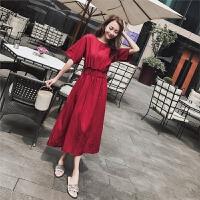 2018夏季新款韩版学生冷淡风裙子极简复古棉麻连衣裙及踝长裙女夏 暗酒红