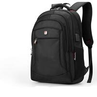 双肩包男士多功能休闲背包15.6寸电脑旅行包中大容量学生书包 爵士黑 外置USB耳机插孔