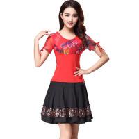 新款套装短袖裙裤子舞蹈舞衣服 广场舞服装演出短裙春夏季
