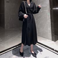 冷淡风中长款黑色衬衫裙女秋冬新款28港味chic长袖雪纺连衣裙潮 黑色 均码