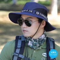 帽子男户外大沿防晒帽韩版遮阳帽青年登山帽渔夫帽休闲太阳帽