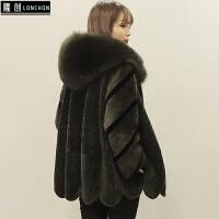 秋冬新款羊剪绒皮草外套女中长款羊毛大衣水貂狐狸毛连帽一体