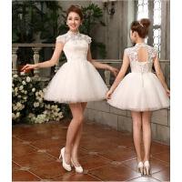 伴娘服短款新款显瘦敬酒服新娘结婚晚礼服婚纱短款公主蓬蓬裙 白色 X